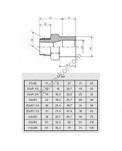 """PVC külsőmenetes toldás 40mm x 1 1/4""""KM"""