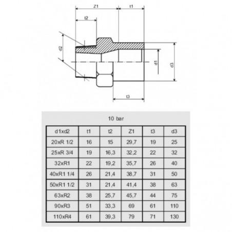 """PVC külsőmenetes toldás 50mm x 1 1/2""""KM"""