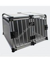 Alumínium Kutyaszállító box 2 ajtós erősített round tube double door (93x63x70cm)