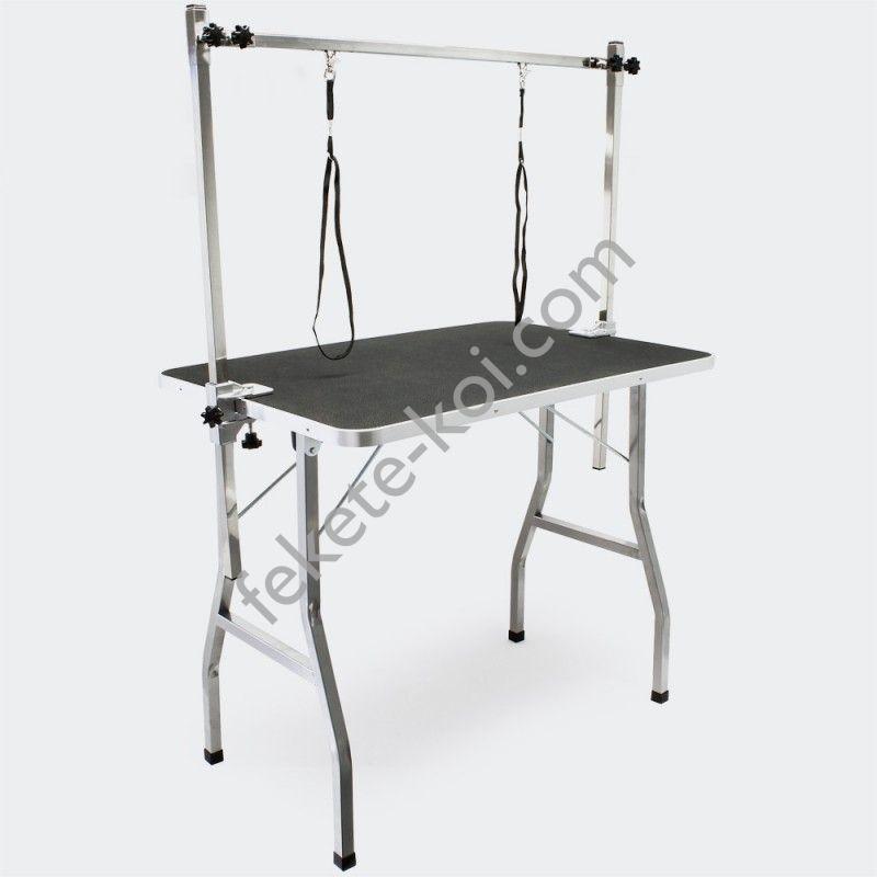 Rozsdamentes trimmelő asztal 2 hurokkal kutyakozmetikai asztal kutyák, macskák ápolásához PCT-15