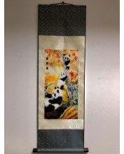 Vászontekercses Három Pandás kép 90x30cm