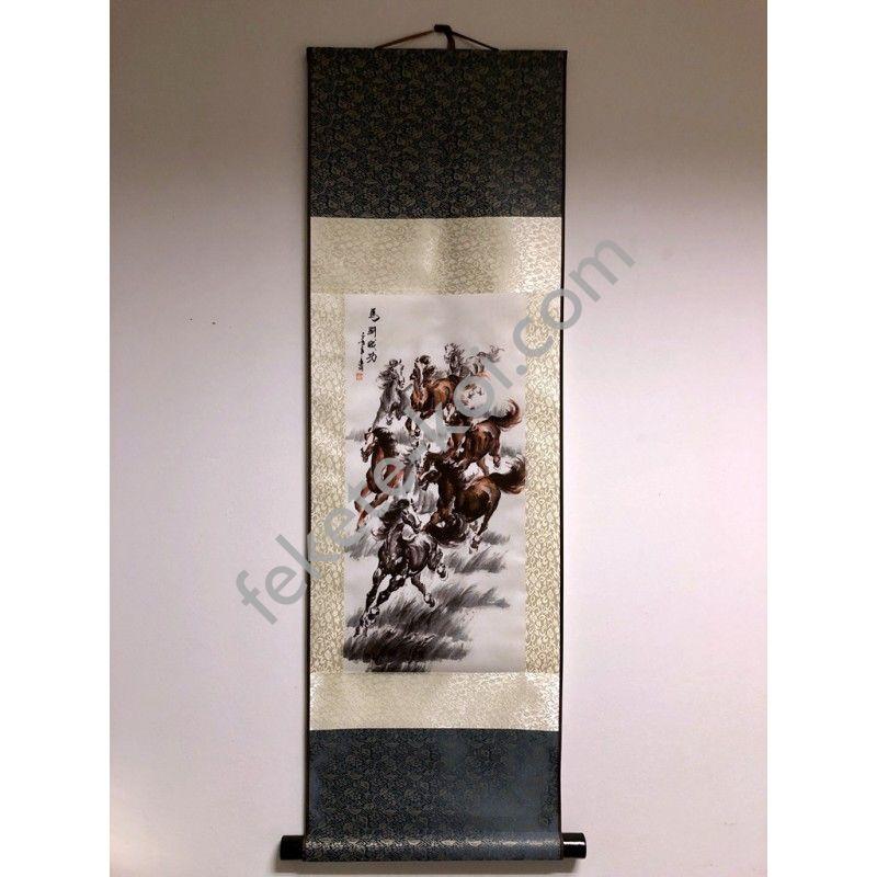 Vászontekercses Lovas kép 90x30cm