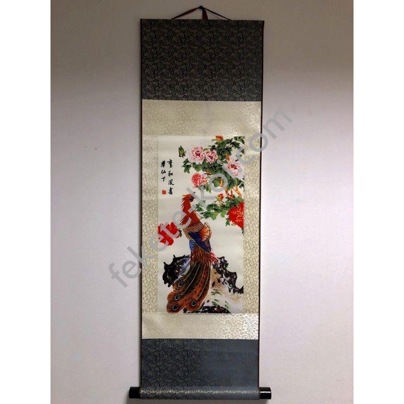 Vászontekercses Pávás kép 90x30cm