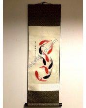 Vászontekercses Fekete-Piros halas kép 90x30cm