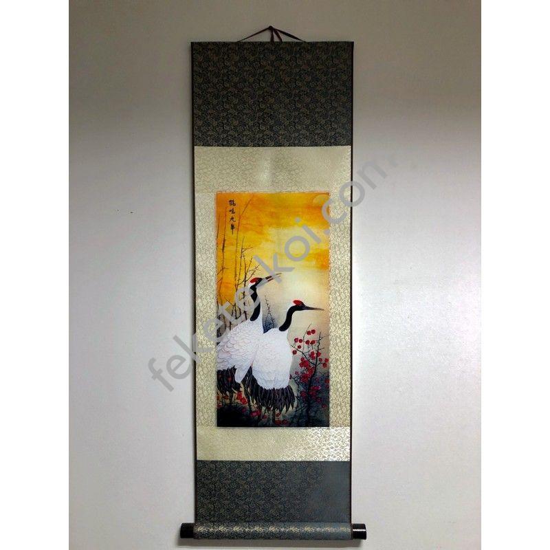 Vászontekercses Daru madaras kép 90x30cm