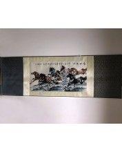 Vászontekercses Lovas kép 135x35cm