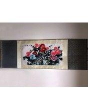 Vászontekercses Bazsarózsás kép 135x35cm