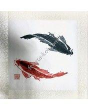 Fali vászonkép fekete/piros halas 45x45cm