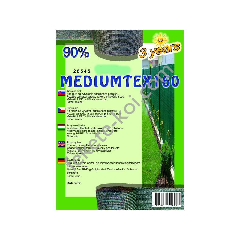 Belátásgátló, szélfogó és árnyékoló háló MEDIUMTEX 160 1,8 m x 10 m 90% / 28521