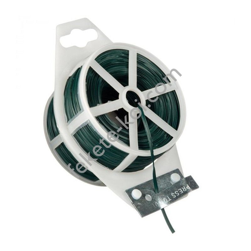 Kötöződrót zöld, lapos műanyag bevonattal, vágószerkezettel - 25 m / 6040456