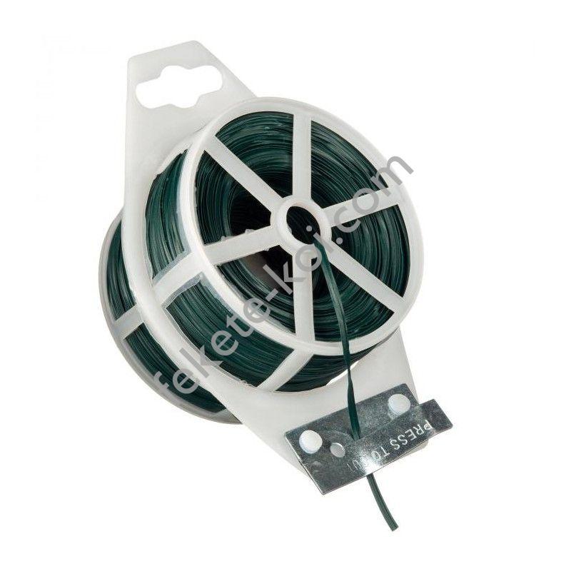 Kötöződrót zöld, lapos műanyag bevonattal, vágószerkezettel - 50 m / 6040464