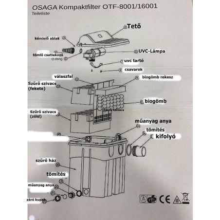 Osaga OTF 8001 kerti tó átfolyós gravitációs szűrő 18W UVC lámpával