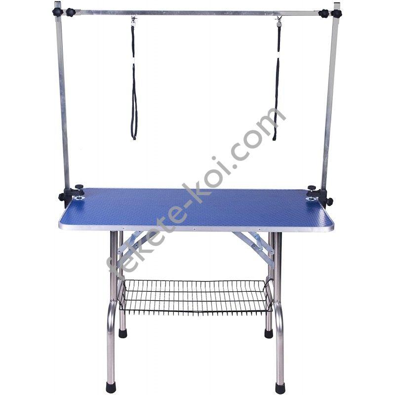 Rozsdamentes trimmelő asztal 2 hurokkal kutyakozmetikai asztal erősített kék PCT-11